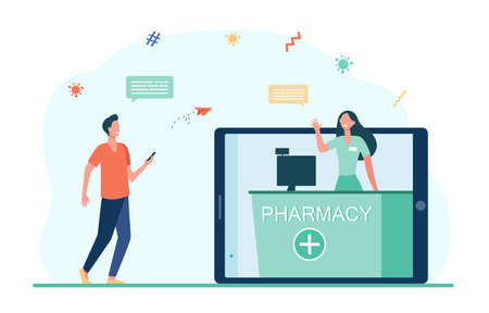 Positive guy buying medicines in online drug store. Tablet, order, internet flat vector illustration. Pharmacy and digital technology concept for banner, website design or landing web page
