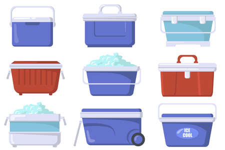 Handheld ice cooler boxes flat set for web design. Cartoon iceboxes and containers for picnic isolated vector illustration collection. Camping refrigerators and storage concept