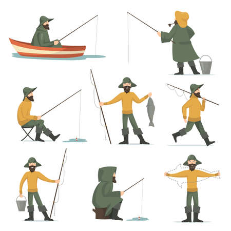 Happy fisherman with fishing rod flat set for web design. Cartoon man fishing in boat and showing fish isolated vector illustration collection. Hobby and leisure activity concept Ilustração