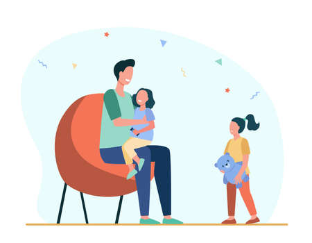 Dad giving attention to only one child. Daughter, parent, toy flat vector illustration. Parenthood and relationship concept for banner, website design or landing web page