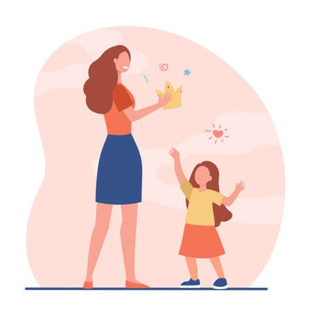 Happy mother giving crown to her little daughter. Kid, party, princess flat vector illustration. Celebration and holiday concept for banner, website design or landing web page