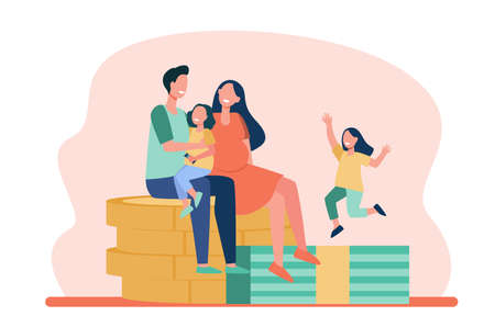Happy parents with kids sitting on pile of coins. Dollar, money, children flat vector illustration. Finance and family concept for banner, website design or landing web page