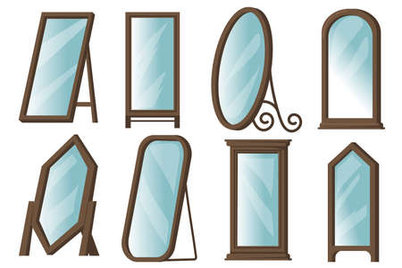 Creative floor mirrors with wooden frames flat item set. Cartoon rectangular or round mirrors for home isolated vector illustration collection. Hallway or bedroom interior design concept