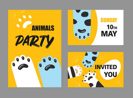 Animals party invitation cards set. Cat paws and claws vector illustrations with text and date on white and yellow background. Cafe, pet shop, shelter concept for flyers and posters design