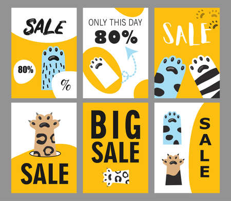 Sale flyers set with animal foot. Cat paws vector illustrations with text and percentage on white and yellow background. Friendly cafe or pet shop concept for posters and invitation cards design