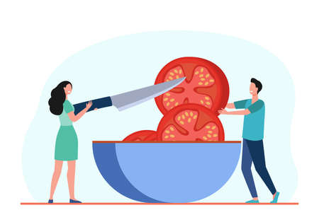 Tiny people cutting huge tomato in bowl. Knife, meal, food flat vector illustration. Cooking and vegetables concept for banner, website design or landing web page