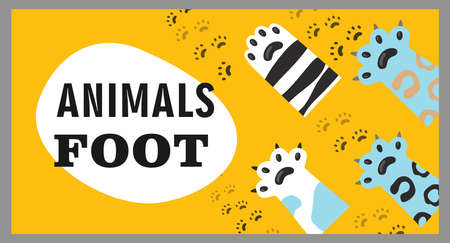 Cover design with animal foot. Cat paws, claws and footprints vector illustrations with text on yellow backgrounds. Veterinary, pet shop, shelter concept for poster, website or webpage background
