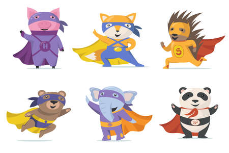 Funny superhero animals flat set for web design. Cartoon pig, fox, bear, elephant, panda and hedgehog in capes isolated vector illustration collection. Zoo heroes and mascots for kids concept Ilustração