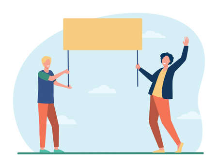 Two guys holding empty banner and smiling. Protest, opinion, picket flat vector illustration. Demonstration and social action concept for banner, website design or landing web page Ilustração