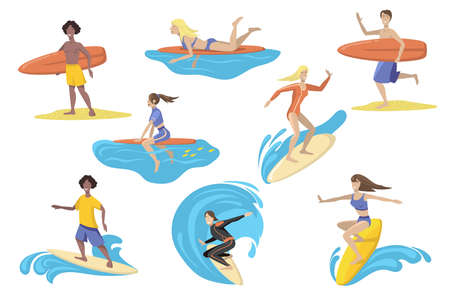 Happy surfers with surfboards flat set for web design. Cartoon people surfing, standing, running, swimming with boards isolated vector illustration collection. Sport activity and holiday concept