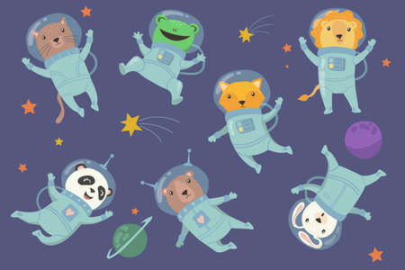 Cute baby animals in space flat set for web design. Cartoon cat, frog, fox, panda, rabbit and lion in cosmonaut costumes isolated vector illustration collection. Fun and adventure concept Ilustração