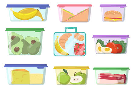 Plastic containers with various food flat set for web design. Cartoon lunch boxes with fresh meal isolated vector illustration collection. Nutrition and storage concept