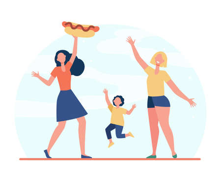 Happy women and girl with hot dog. Meal, street, junk food flat illustration. Fast food and nutrition concept for banner, website design or landing web page Ilustração