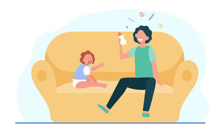 Elder brother nursing cute toddler and smiling. Child, milk, sofa flat vector illustration. Family and relationship concept for banner, website design or landing web page Ilustração