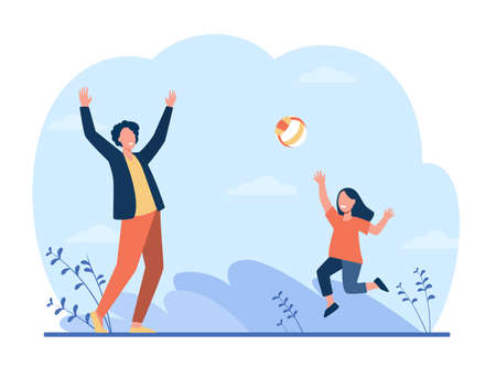 Happy girl playing with father in volleyball. Fun, dad, kid flat vector illustration. Sport game and activity concept for banner, website design or landing web page Ilustração