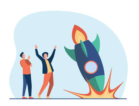 Anxious guys watching as rocket falling down. Accident, explosion, problem flat vector illustration. Failure and bankruptcy concept for banner, website design or landing web page