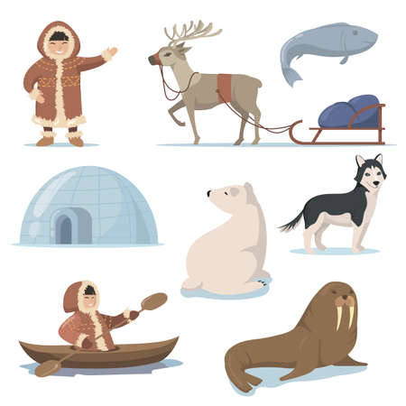 Alaska elements and happy Inuits flat set for web design. Cartoon Eskimo characters in traditional clothing and arctic animals isolated vector illustration collection. Life in far north concept