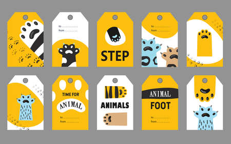Animal foot tags set. Cat paws and claws vector illustrations with text on white and yellow background. Friendly cafe or pet shop concept for flyers, labels, greeting cards design