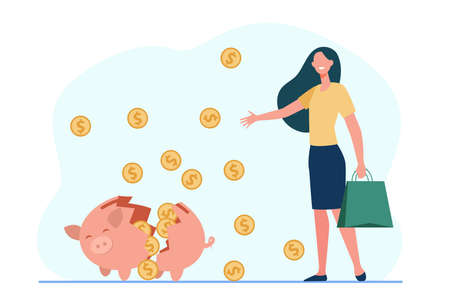 Happy woman taking money from piggy bank. Coin, cash, investment flat vector illustration. Finance and savings concept for banner, website design or landing web page