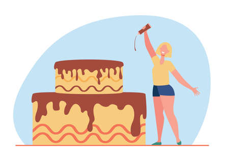 Happy tiny woman glazing cake with chocolate. Sweet, party, food flat vector illustration. Desserts and decoration concept for banner, website design or landing web page