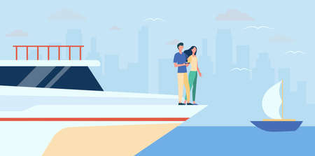 Happy couple standing on edge of yacht. Sea, cityscape, wealth flat vector illustration. Vacation and sailing concept for banner, website design or landing web page
