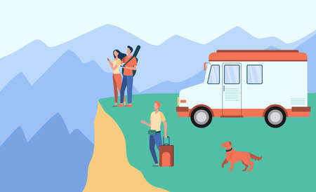 Cartoon people travelling on van in mountains. Dog, baggage, landscape flat vector illustration. Adventure and nature concept for banner, website design or landing web page