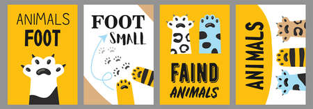 Animals foot posters set. Cat paws and claws vector illustrations with text on white and yellow background. Veterinary, pet shop, shelter concept for flyers and brochures design Ilustração
