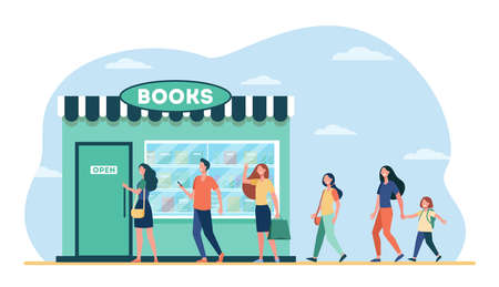 Smiling people standing in line to book store. Shop, study, novel flat vector illustration. Education and reading concept for banner, website design or landing web page