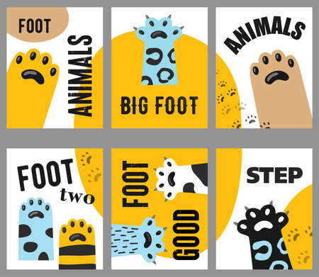 Animals foot flyers set. Cat paws and claws vector illustrations with text on white and yellow background. Veterinary, pet shop, shelter concept for posters and brochures design