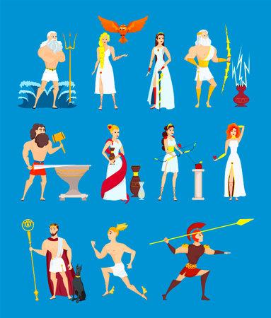 Cartoon Greek Gods set. Ancient Olympian heroes isolated on blue background. Poseidon, Zeus, Hephaestus, Ares, Hermes, Athene, Aphrodite, Hades, Demeter, Artemis. Flat vector illustration Vector Illustration