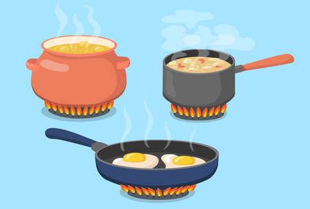 Hot pot, saucepan and pan on gas stove flat set for web design. Cartoon food prepared on kitchen isolated vector illustration collection. Cooking and kitchenware concept