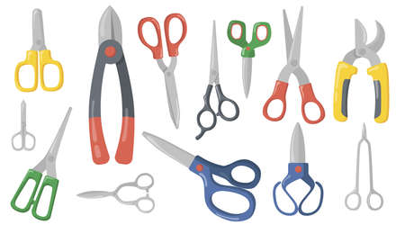 Creative scissors, shears and secateurs flat item set. Cartoon cutting or trimming professional instruments isolated vector illustration collection. Craft and scissoring concept