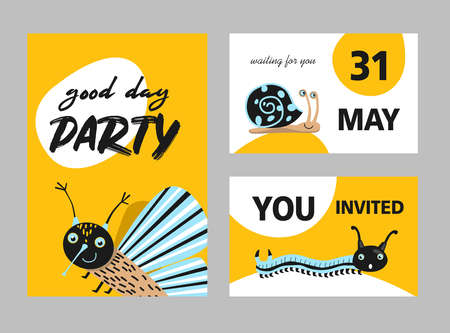 Creative party invitation designs with cute insects. Modern yellow invitations with moth, centipede and snail. Celebration and fauna concept. Template for leaflet, banner or flyer Ilustrace