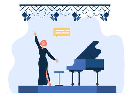 Singer performing on stage. Singing woman, vocalist, great piano. Flat vector illustration. Performance, entertainment, musical show concept for banner, website design or landing web page 向量圖像