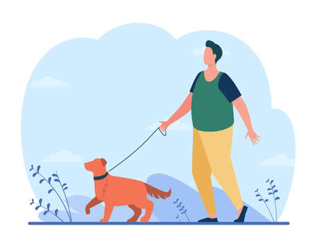 Fat man walking with dog on street. Leash, puppy, retriever flat vector illustration. Domestic animals and pets concept for banner, website design or landing web page