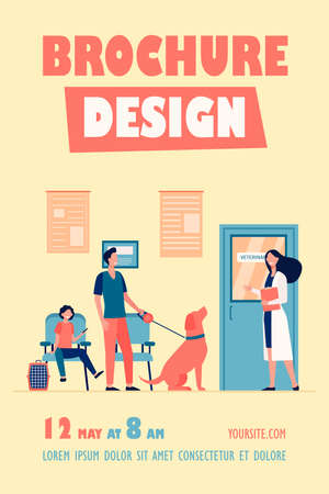 Queue of people with pets at vet room. Veterinary inviting man with cute dog in her office. Vector illustration for animal care, veterinarian clinic or hospital concept Ilustrace