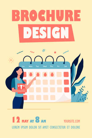 Woman checking menstruation calendar. Period, blood, lady flat illustration. Female health and organism concept for banner, website design or landing web page Ilustrace