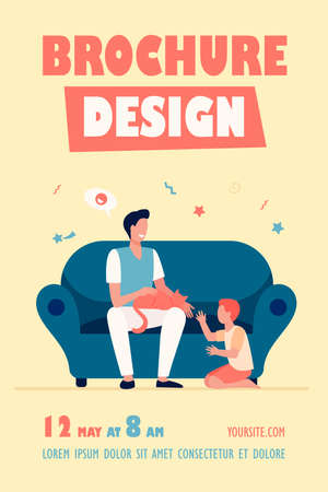 Happy dad with son and cat at home. Family enjoying leisure time together flat vector illustration. Parenthood, pet care, father concept for banner, website design or landing web page Ilustracja