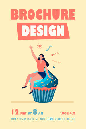 Happy woman enjoying dessert. Cheerful girl sitting on cupcake flat vector illustration. Bakery, pastry, food concept for banner, website design or landing web page