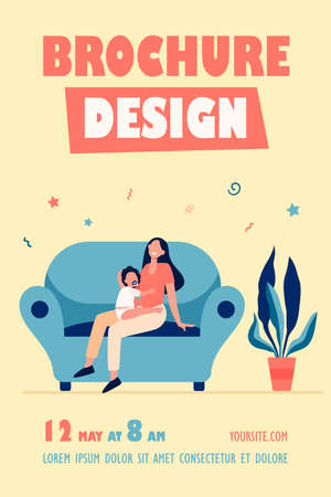 New mom holding kid on lap. Mother and toddler with pacifier sitting on couch at home flat vector illustration. Motherhood, maternity leave concept for banner, website design or landing web page
