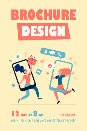 Customers sharing references and earning money. Mobile phones users chatting, exchanging gifts. Vector illustration for refer a friend, referrals, loyalty program, marketing concept