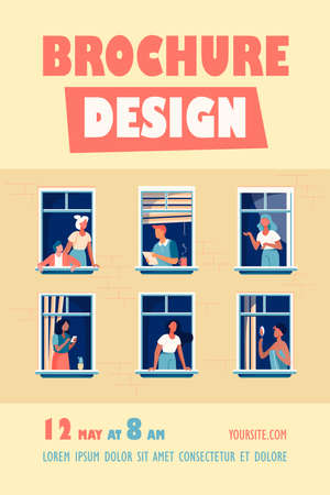 Apartment building with people in open window spaces. Neighbors drinking coffee, talking, using cell. Vector illustration for block of flat, condo, neighborhood, community, house friendship concept 벡터 (일러스트)
