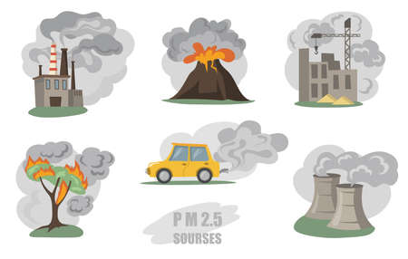 Toxic smokes set. Fumes from factory pipes, volcano, car in city, outdoor fog from wild fires isolated on white. Vector illustration for air pollution, city dust danger concept