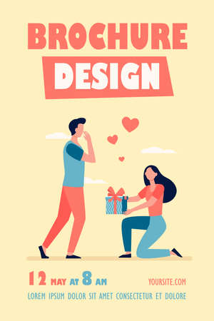 Woman giving gift to her boyfriend. Girl with present box getting down on one knee flat vector illustration. Love, special date concept for banner, website design or landing web page