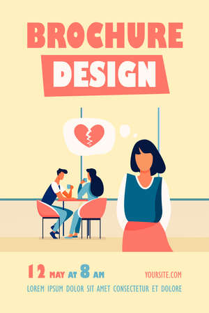 Sad woman with broken heart standing near happy couple. Date, girl, girlfriend flat vector illustration. Love and relationship concept for banner, website design or landing web page