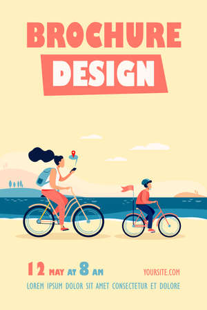 Mom and son riding bikes along seacoast. Woman checking route on mobile app flat vector illustration. Family outdoor activity, navigation concept for banner, website design or landing web page