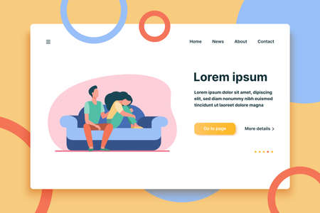 Boyfriend holding shoulder and consoling sad woman. Sofa, family, support flat vector illustration. Depression and melancholy concept for banner, website design or landing web page