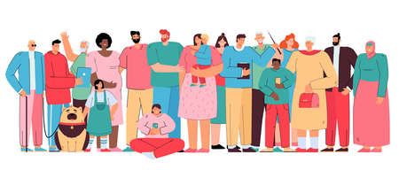 Big diverse family members. Crowd of multicultural people of different ages and races standing together. Vector illustration for multinational public, multiracial community members or society concept