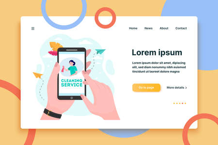 Cleaning service order app. Woman using smartphone and calling in cleaning worker flat vector illustration. Communication, household concept for banner, website design or landing web page