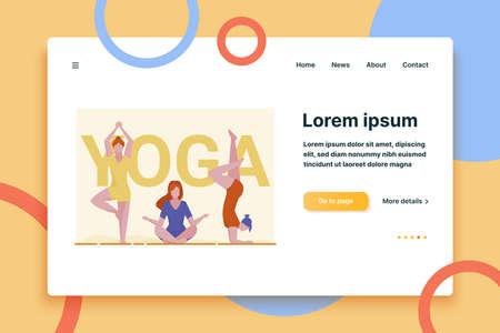 Female yogi group. Women in fitness apparel practicing yoga flat vector illustration. Meditation, activity, body training concept for banner, website design or landing web page Vector Illustration
